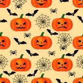 Halloween pattern with pumpkins, bats, spiders webs . Seamless halloween background. — Stock Vector