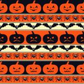 Halloween pattern with pumpkins, bats, spiders. Seamless halloween background. — Stock Vector