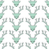 Deer head silhouette seamless pattern. Animal head texture. Cute sleeping deer with bow background for winter holidays — Stock Vector