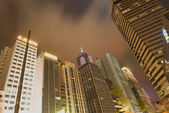 Skyline of a cosmpolian City in a cloudy Night — Stock Photo