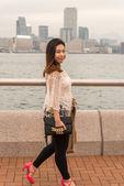 Asian Girl walking on Pier — Stock Photo