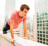 Man on a Corbel making Exercises — Stock Photo