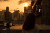 Sunset on a Rooftop — Stock Photo