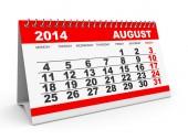 Kalendarz sierpnia 2014. — Zdjęcie stockowe