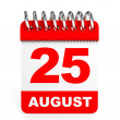 Calendar on white background. 25 August. — Stock Photo #60193497