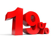 Red nineteen percent off. Discount 19. — Stock Photo