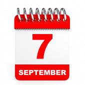 Calendar on white background. 7 September. — Stock Photo