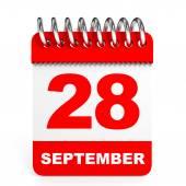 Calendar on white background. 28 September. — Stock Photo