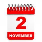 Calendar on white background. 2 November. — Foto de Stock