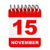 Calendar on white background. 15 November. — Stock Photo