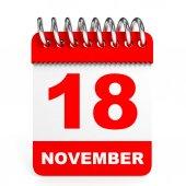 Calendar on white background. 18 November. — Stock Photo