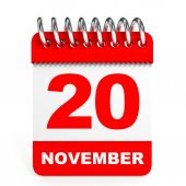 Calendar on white background. 20 November. — Stock Photo