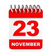 Calendar on white background. 23 November. — Stock Photo