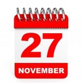 Calendar on white background. 27 November. — Stock Photo
