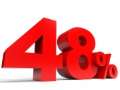 Red forty eight percent off. Discount 48. — Stock Photo