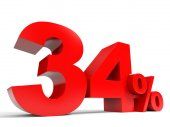 Red thirty four percent off. Discount 34. — Stock Photo