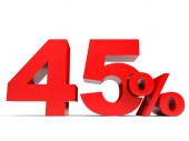 Red forty five percent off. Discount 45. — Stock Photo