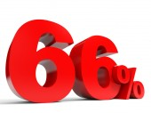 Red sixty six percent off. Discount 66. — Stock Photo