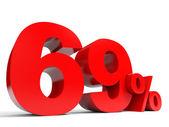 Red sixty nine percent off. Discount 69. — Zdjęcie stockowe