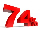 Red seventy four percent off. Discount 74. — Stock Photo