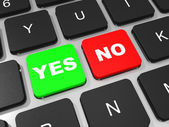 YES and NO key on keyboard of laptop computer. — Stockfoto