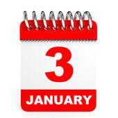 Calendar on white background. 3 January. — Stock Photo