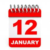 Calendar on white background. 12 January. — Stock Photo