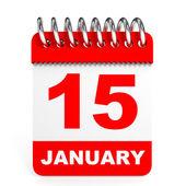 Calendar on white background. 15 January. — Stockfoto