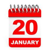 Calendar on white background. 20 January. — Stock Photo