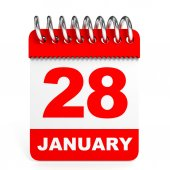 Calendar on white background. 28 January. — Stock Photo