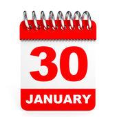 Calendar on white background. 30 January. — Stock Photo