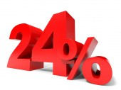 Red twenty four percent off. Discount 24. — Stock Photo