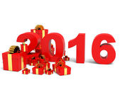 Happy new year 2016 and gifts. — Stock Photo