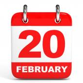 Calendar. 20 February. — Stock Photo