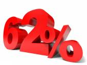 Red sixty two percent off. Discount 62. — Stock Photo