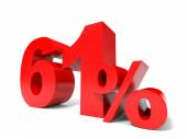 Red sixty one percent off. Discount 61. — Stock Photo