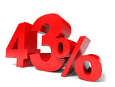 Red forty three percent off. Discount 43. — Stock Photo