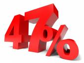 Red forty seven percent off. Discount 47. — Stock Photo