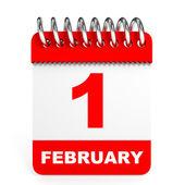 Kalendář na bílém pozadí. 1. února. — Stock fotografie