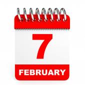 Calendar on white background. 7 February. — Foto de Stock
