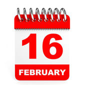 Calendar on white background. 16 February. — Stock Photo