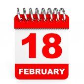 Calendar on white background. 18 February. — Stock Photo