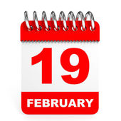 Calendar on white background. 19 February. — Stock Photo