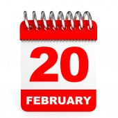Calendar on white background. 20 February. — Stock Photo