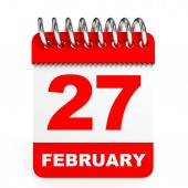 Calendar on white background. 27 February. — Stock fotografie