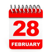 Calendar on white background. 28 February. — Foto de Stock