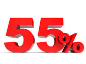 Red fifty five percent off. Discount 55. — Stock Photo