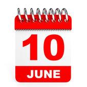 Calendar on white background. 10 June. — Stock Photo