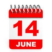 Kalendarz na białym tle. 14 czerwca. — Zdjęcie stockowe