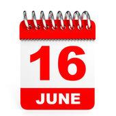Calendar on white background. 16 June. — Stock Photo